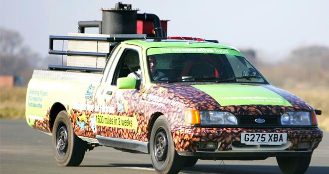 Coffee-powered 'bean machine' car commissioned by Co-op