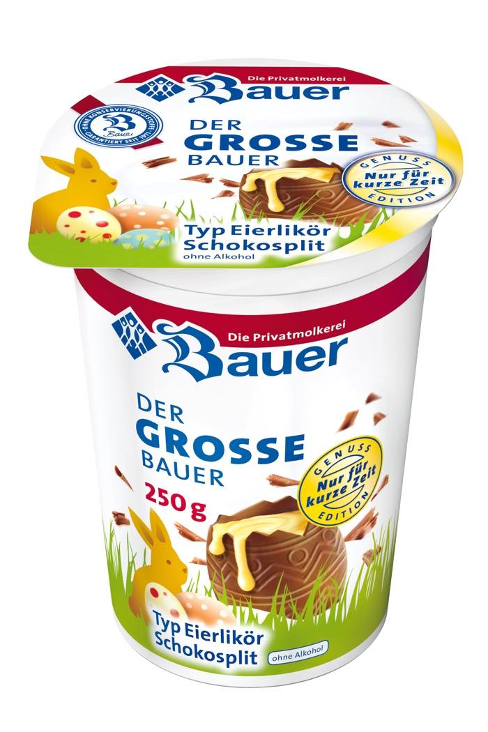 Bauer eggnog chocolate split yogurt