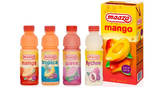 New design for Maaza tropical fruit drinks in 33cl format