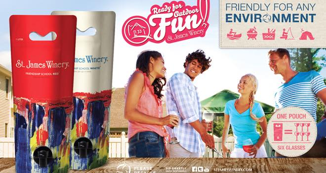 Eco-friendly wine pouches from St James Winery