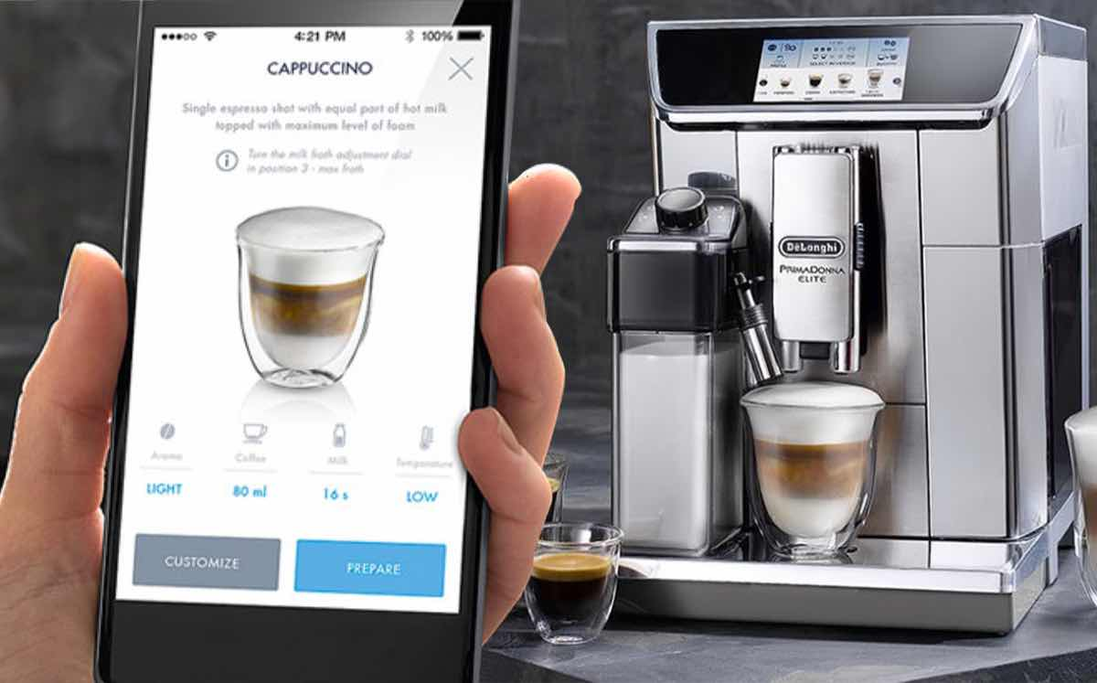 delonghi primadonna elite wifi operated bean to cup coffee. Black Bedroom Furniture Sets. Home Design Ideas