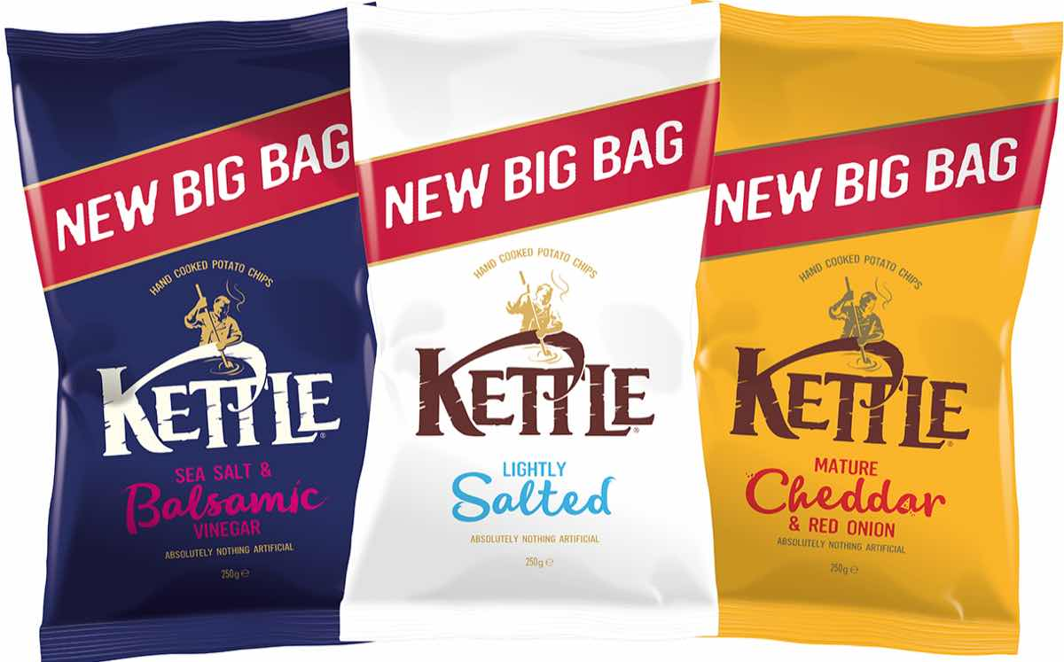Kettle Chips introduces sharing range with packaging redesign